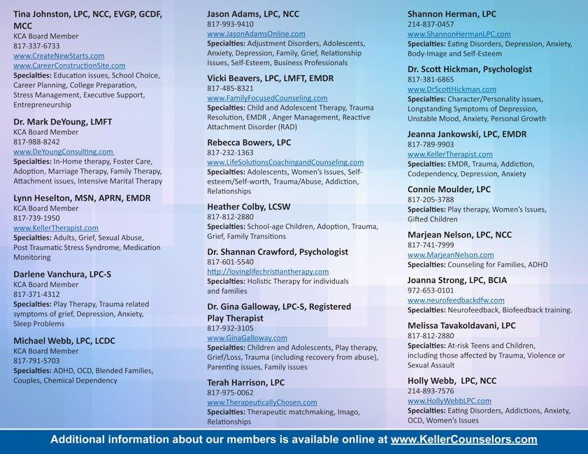 Keller Counselors Association brochure