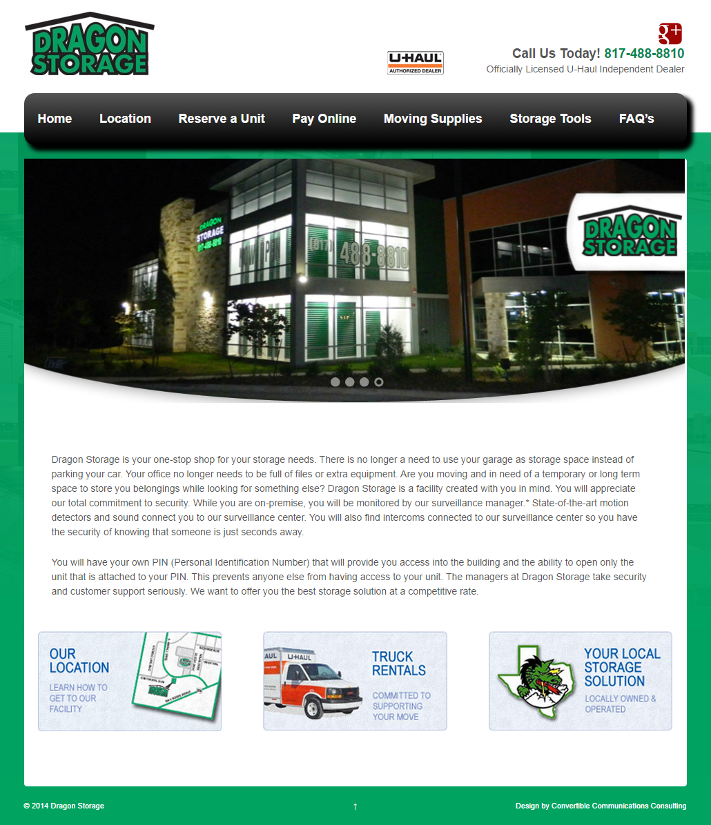 dragon storage southlake website design