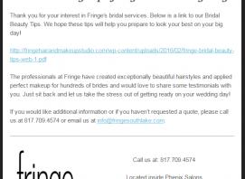 fringe southlake bridal email drip campaign