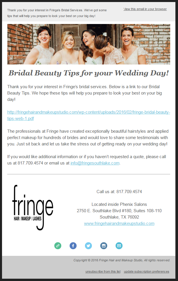 fringe southlake bridal email drip campaign
