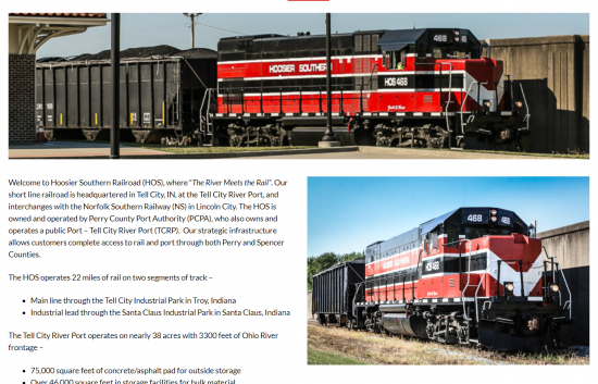 Hoosier Southern Railroad Website
